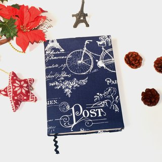 Oh! Paris book cover with bookmark handmade Print Cotton Fabric canvas