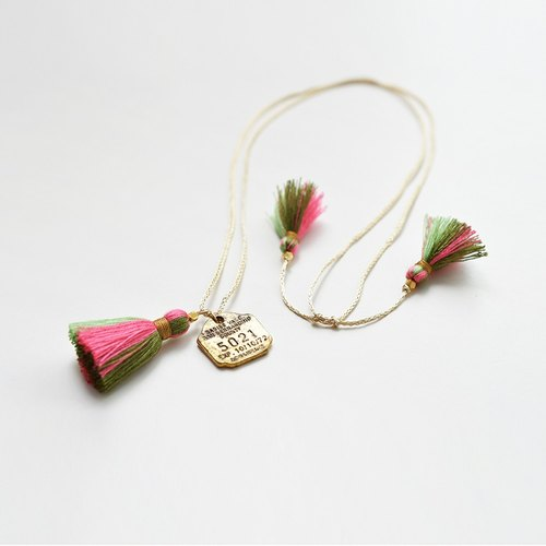 Necklace/3way tassel necklace/pink