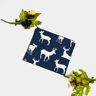 Deer Silhouette Premier Navy Small Zippered Bag/cosmetic bag/storage pouch