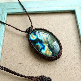 P12 Bohemian National Wind South American Wax Line Braided Labradorite Necklace Long Necklace