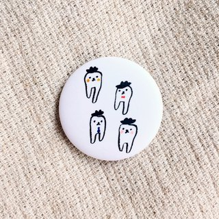 Four gentleman teeth matte badges