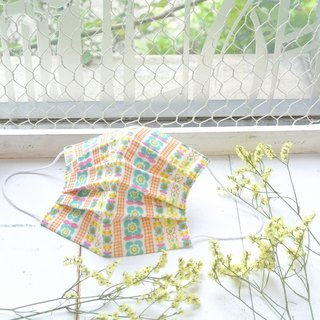 25%OFF | handmade mask Flower stripes Green Orange 刺繡緞帶 | Environmental products
