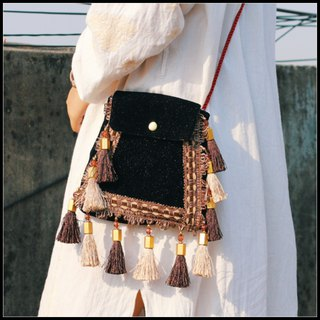 Dark black palace velvet tassel Messenger bag Vintage original design handmade cloth bag 10 products