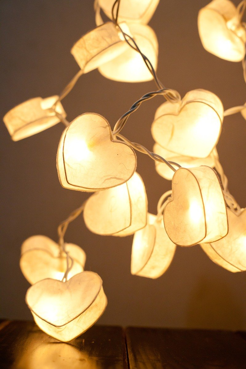 20 White heart Paper lantern String Lights for Home Decoration Party Wedding Bedroom Patio and Decoration