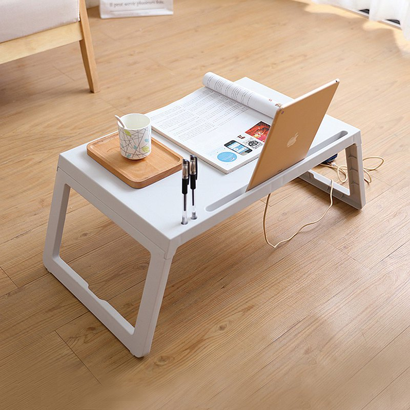 Multifunctional portable bed / desk folding table-white