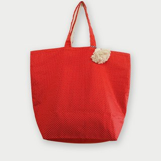 Fabric Bag | Large Market Bag - Polkadot Bag (Red Color)
