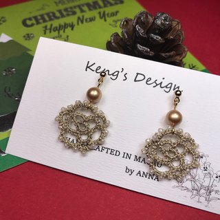 tatted rose pearl earrings (gold) / Christmas gift / Swarovski crystal / customize