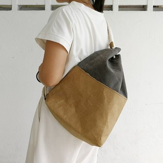 [Washed kraft paper X canvas] cotton rope shoulder Messenger bag * retro black