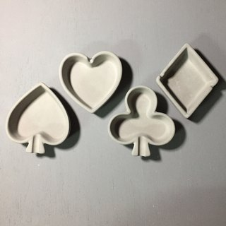 Fair face Concrete ashtray accessory holder in Playing card shapes (set of four)