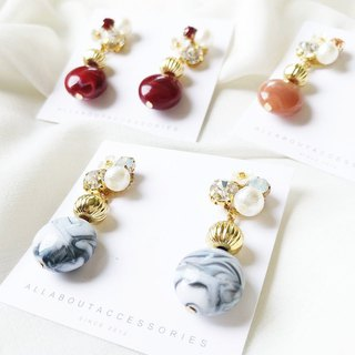 Small set of stone series - marbled stone earrings / ear clip