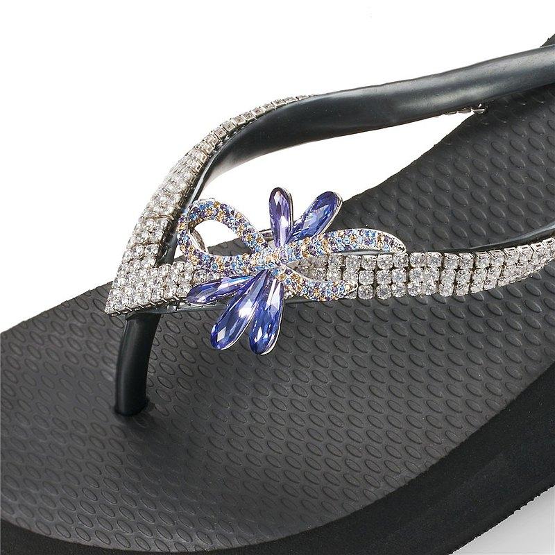 女款6cm厚底夾腳拖鞋-頂級首飾工藝水鑽-華爾舞姿紫藍 爵士黑