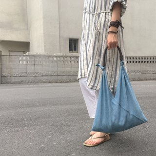 SAMEDi - Casual Tie Tote - Light Blue Dening + Coffee Handle