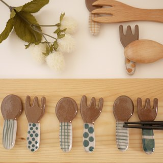 Cutleryrest of spoon and fork 【Dark green】