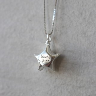 Green Rivor Personalised Silver Origami Lucky Star Necklace