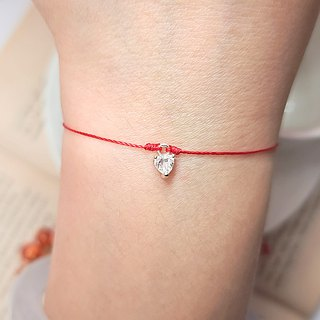 *Le Bonheur happy Line line*925 sterling silver water drop diamond drill claw Haiyangzhixin mermaid's tears ultrafine red bracelet hand rope