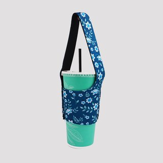 BLR green drink bag I go TU14 blue flowers