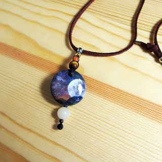 Hand painted moon child wood charm faux suede necklace with tigereye and agate