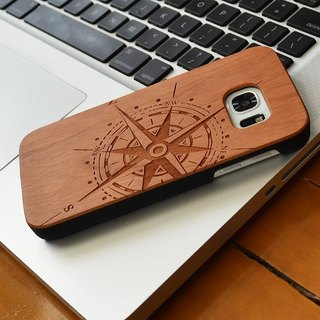 Customized Compass Personalized laser engraving Samsung S5 / S6 / S7 / S6 edge / S7 edge pure natural wood + green frosted plastic phone shell