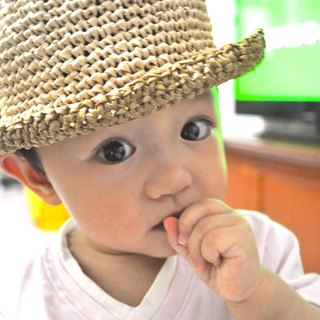 Hand-woven material bag - pumpkin children's straw hat