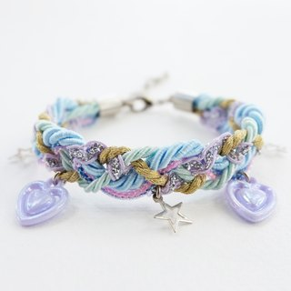 Pastel lilac bracelet with heart and star