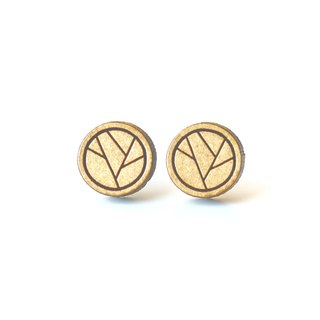 Plain wood earrings-Geometric circle