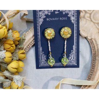 Sun flower daisy flower ear earrings retro glass ball summer transparency