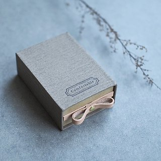 Comfortable  // Charcoal gray) Sliding Box Leather ribbon 気持ちを伝える小さな箱