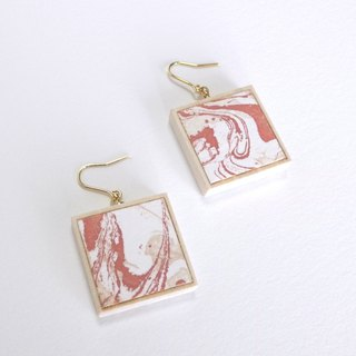 Marble pattern copper prints and wooden earrings Coral