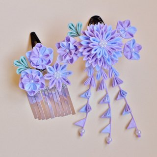 Dreaming sugar confectionary hair ornament 2 point set Light purple knife work kanzashi sum or yukata or kimono