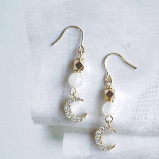 Moonlight Light Earrings │14KG Moonstone Can Change Clip