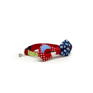 GOOOD Cat Collar | Mighty Angled Bow - Seafarer Popeye | 100% Red & Blue Fabric | Safety Breakaway Buckle