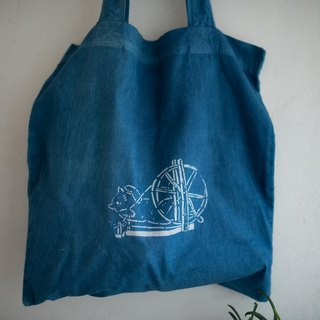 cat jobs 02 | Rolling the cotton therad | natural indigo Tote Bag
