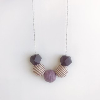 Brown Purple Wooden Ball Necklace Birthday Gift Bridesmaid Gift