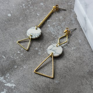 geometry. Brass white turquoise round long earrings