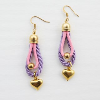 Purple and pink rope earrings with hearts