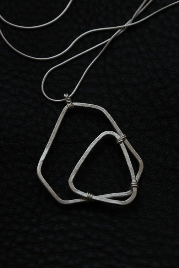 Handmade silver geometric shape pendant on silver snake chain necklace (N0092)