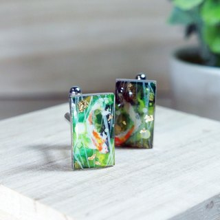 Hand-painted French cufflinks wind carp