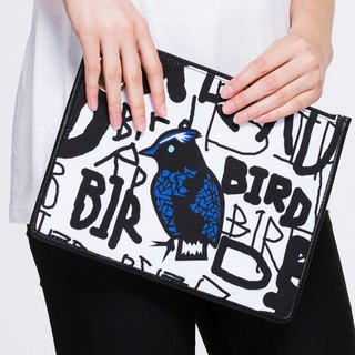 Graffiti Bird Graffiti Bird :: DART ME Cowhide Canvas Clutch