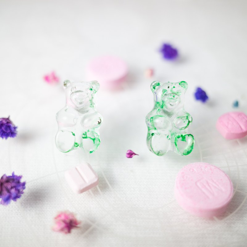 Pills Gummy Bears Mother Ants - Baby No. 2 Japan UV Rubber Earrings Jewelry