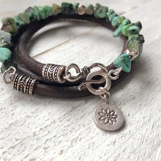 Leather and Silver Collection Natural Stone Bracelets / Turquoise Sterling Silver / Leather Bracelets - Custom Made