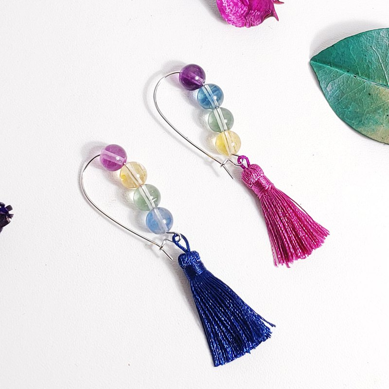 Natural Rainbow Fluorite Rainbow Gemstone Five Elements Earrings/Clip Gifts Gay Commodity Limited 2 pieces