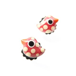 [France TARATATA Paris] animal party series of bird earrings (zebra pattern)