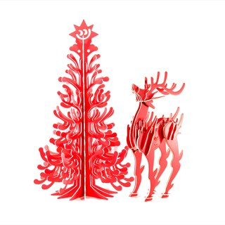 Bethlehem's Smile Christmas Tree and Red Deer 3D Handmade DIY Home Christmas Decoration
