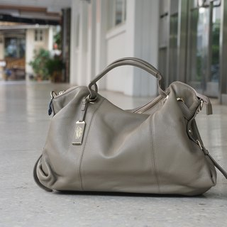 La Poche Secrete: Metropolitan girl's smile bag _ gray foggy brown _ portable shoulder leather bag _1912