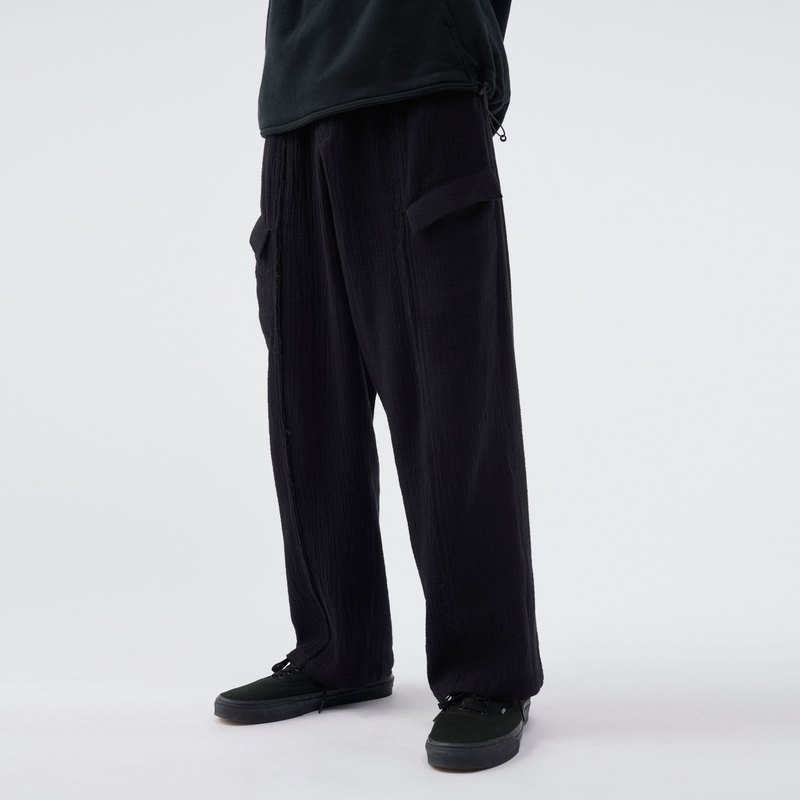 Creased Layer Trousers-Black
