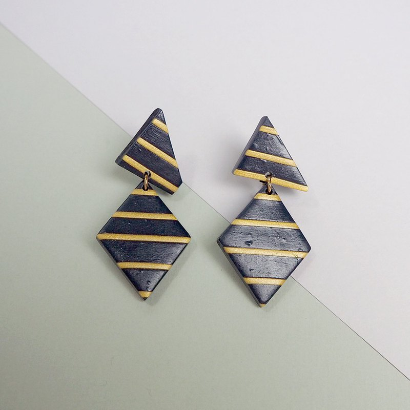 Soft Ceramic Earrings - Blue Gold Stripe - PSYAA23