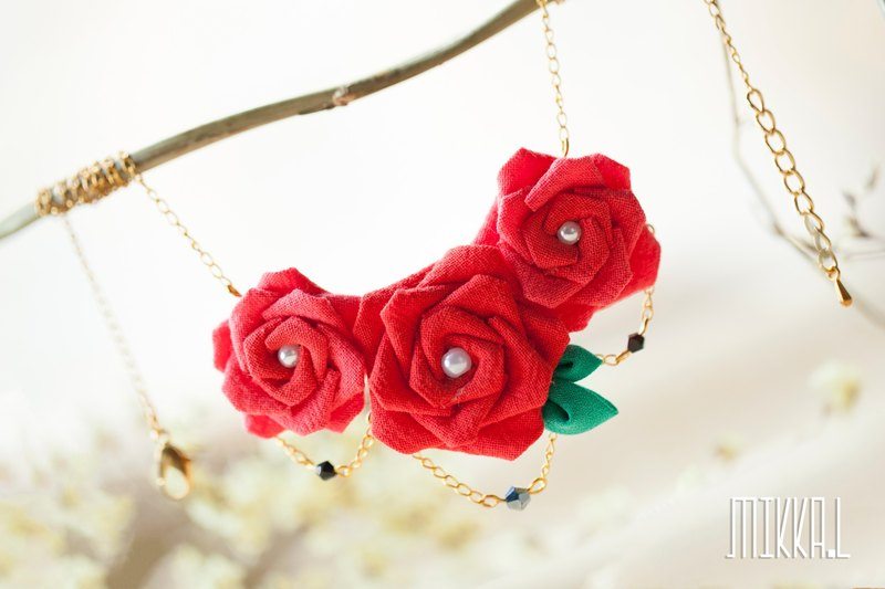 Handy work, hand-painted, fine-grained, three-dimensional, rose, necklace, necklace, necklace