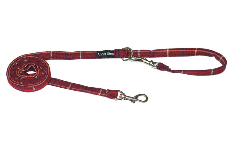 Pet leash fast buckle leash red plaid