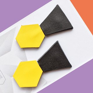 Sonniewing's Geomertic Stud Leather Earrings (Rotatable)