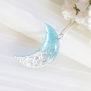 Blue transparent vinyl record 925 sterling silver necklace // color crescent moon